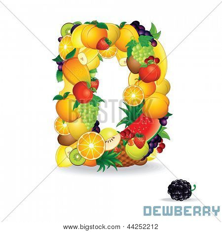 Vector Alphabet From Fruit. For Letter D Fruit is Dewberry.