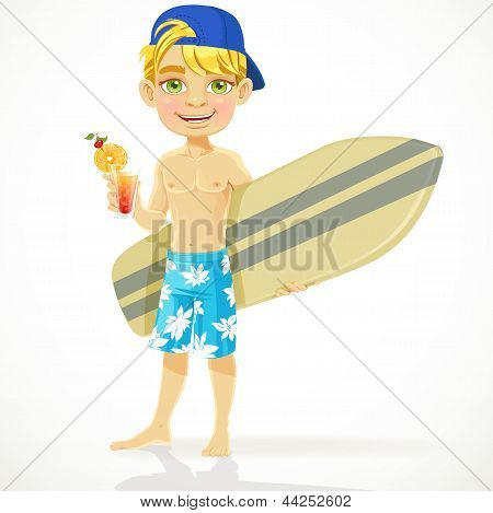 Cute teen boy with a drink in a glass and a surfboard