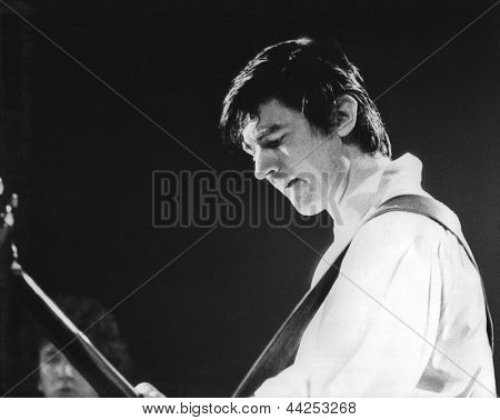 LONDON - JULY 29: Chris Spedding, British rock and pop musician, performs live on stage on July 29, 1978 in London. As well as a solo career he has performed as a session musician on many recordings.