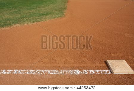 Baseball First Base with the field beyond and room for copy