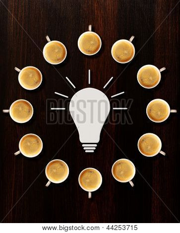 brainstorm. idea sign and circle made of cups of fresh espresso on table, view from above