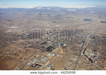 Aerial of Lancaster in California's mojave desert.