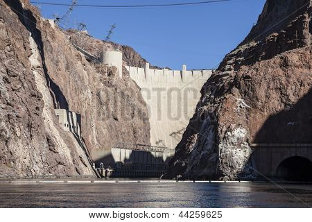 Hoover dam and the Colorado river between Nevada and Arizona.