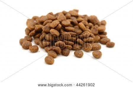 Dry Pet Food On White Background