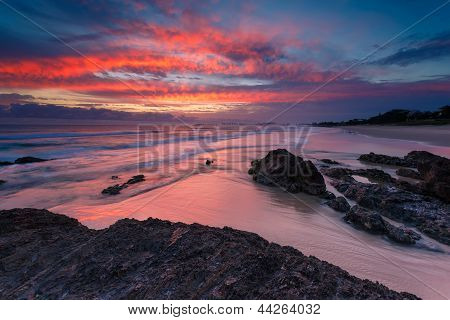 Australian Seascape At Sunrise With Rich In Red Color
