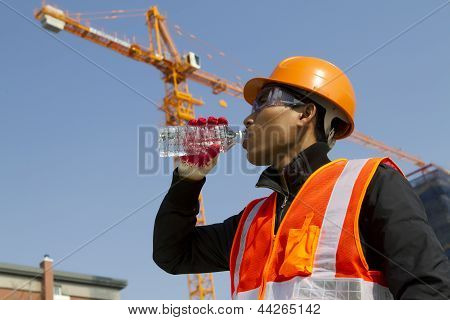 Engineer Drinking Water