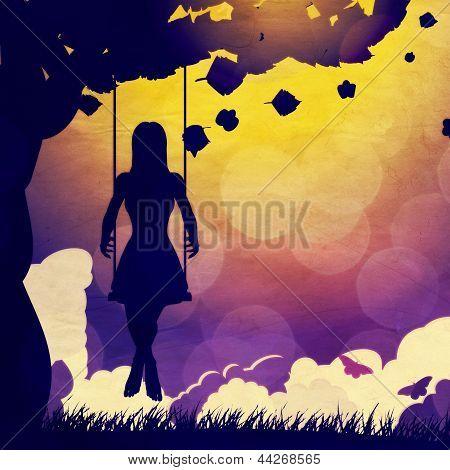 Grunge Girl On Swing Silhouette At Night