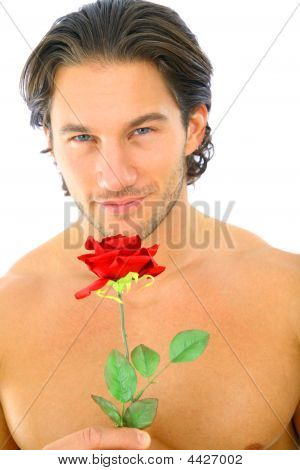 Attractive Young Man Holding Red Rose