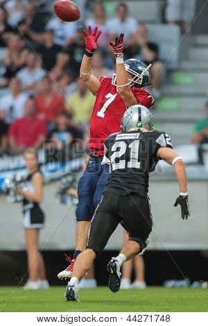 INNSBRUCK, AUSTRIA - JUNE 16 WR Steve Valentino (#7 Broncos) catches the ball on June 16, 2012 in Innsbruck, Austria.