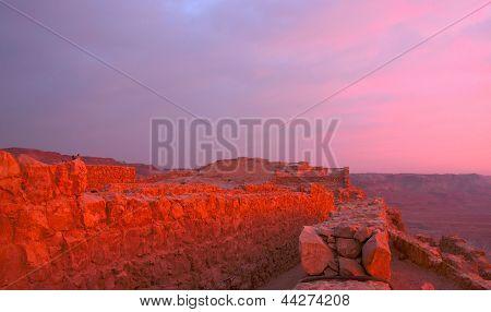 Sunrise On Masada Fortress