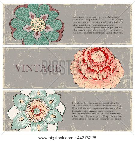 Vintage flowers banners set