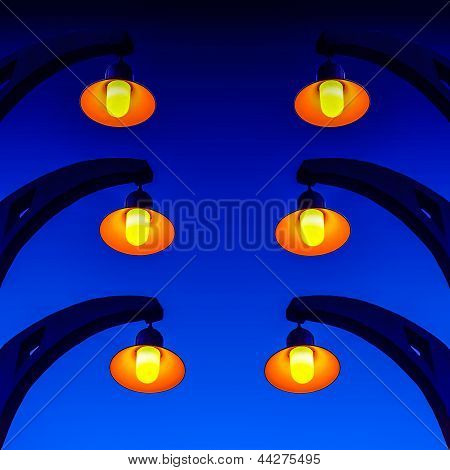 Lamps on Blue color Background