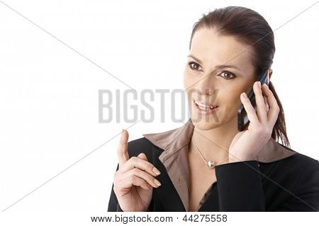 Cutout portrait of businesswoman on mobile phone call, speaking, gesturing.