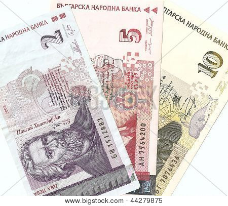 Bulgarian banknotes - 2, 5, 10 Bulgarian leva. The front side.