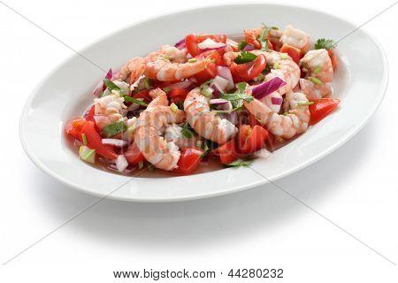 ceviche de camarón, ceviche de camarón, ensalada de mariscos marinados