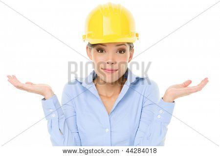 Ingenieur, Unternehmer oder Architekt Frau achselzuckend hebende Schultern Zweifel Entscheidung. Young