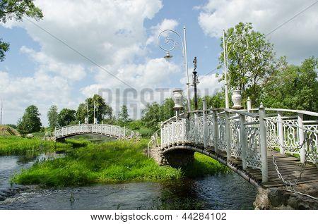 Retro White Decorative Bridges Park Stream River