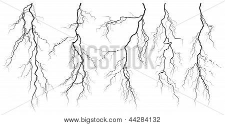 Set Of Silhouettes Of Thunderstorm Lightning.