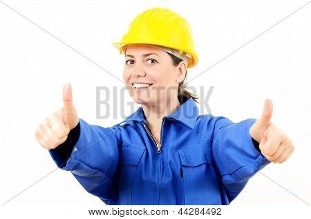 Smiling Woman Who Wearing Protective Equipment