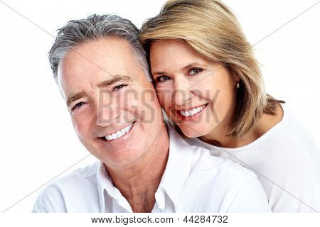Happy senior couple. Isolated on white background.
