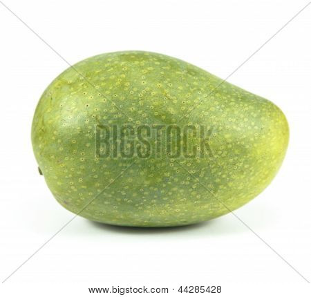 Green Mango Isolated On White Background