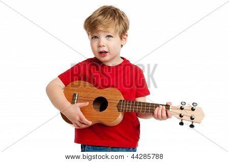 Cute Boy Playing Ukulele Guitar