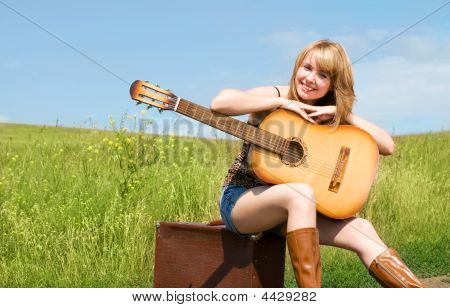 Girl With A Guitar Outdoor