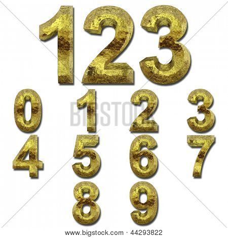 High resolution concept or conceptual 3D yellow shiny gold golden metal font set or collection isolated on white background