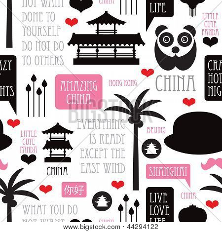 Seamless retro illustration i love china icon background pattern in vector