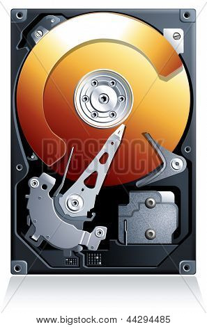 Hard disk drive HDD realistic detailed vector