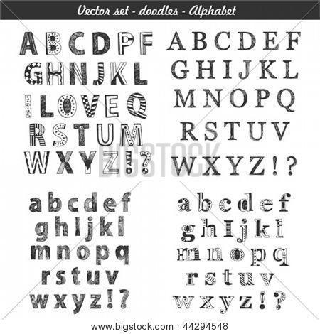 Doodle conjunto: alfabeto desenhado de mão