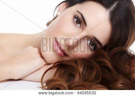 Beautiful young woman portrait. Isolated on white background.