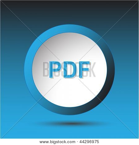 Pdf. Plastic button. Raster illustration.
