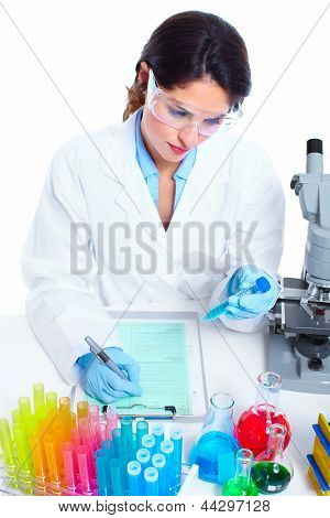 Scientific women in laboratory. Health care research.