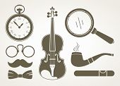 stock photo of sherlock  - Retro detective accessories - JPG