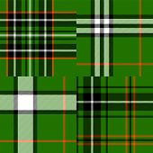 Tartan traditional fabric in green seamless patterns set, vector