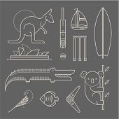 pic of oz  - Vector set of various stylized australia icons - JPG