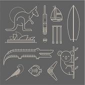 pic of oz  - Vector set of various stylized australia icons - JPG