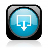 exit black and blue square web glossy icon