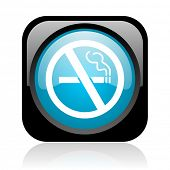 no smoking black and blue square web glossy icon