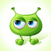 picture of amoeba  - Vector cute green monster isolated on white background - JPG