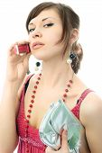 image of chatterbox  - portrait of a beautiful stylish woman gossiping with her friend - JPG
