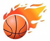 Vector Flaming Basketball On White poster