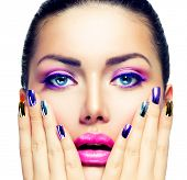 stock photo of purple white  - Beauty Makeup - JPG