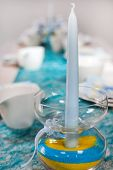 stock photo of baptism  - Table setting for a baptism birthday or wedding coffee break - JPG