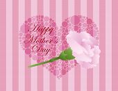 stock photo of carnation  - Happy Mothers Day Pink Carnation Flower with Green Stalk and Polka Dots Heart on Pink Stripes Background Illustration - JPG