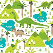 image of tyrannosaurus  - Seamless baby dinosaur animal illustration background pattern in vector - JPG