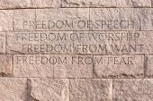 stock photo of freedom speech  - Detail of quotation about freedom at memorial monument to President Franklin Delano Roosevelt in Washington DC - JPG