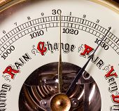 stock photo of barometer  - Change concept with barometer showing weather future - JPG