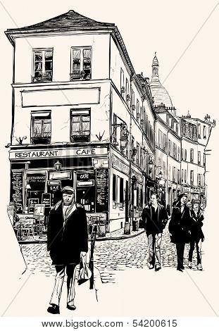 Vector illustration of a view of Montmartre in Paris